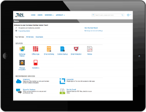 Cloud Server control panel on tablet